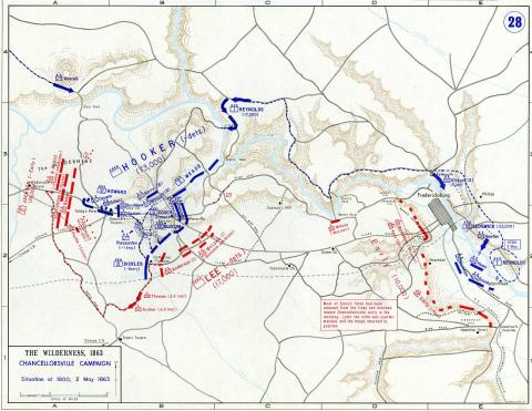 Map of Chancellorsville Campaign - 3 American History American Presidents Geography
