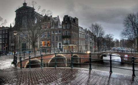 Amsterdam - Street Scene in Cold Weather Geography Medieval Times Philosophy Visual Arts