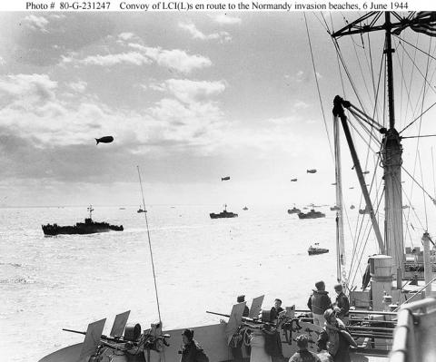 Convoy using Barrage Balloons - En route to Normandy Famous Historical Events Visual Arts World War II Tragedies and Triumphs