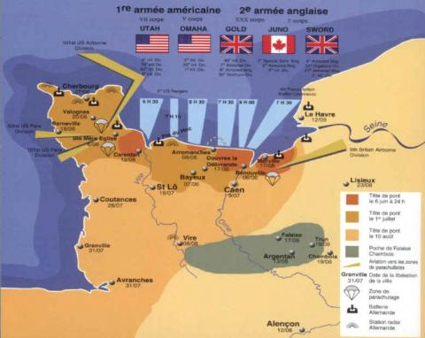 Normandy Operations by Country - Map Geography Famous Historical Events Visual Arts World War II