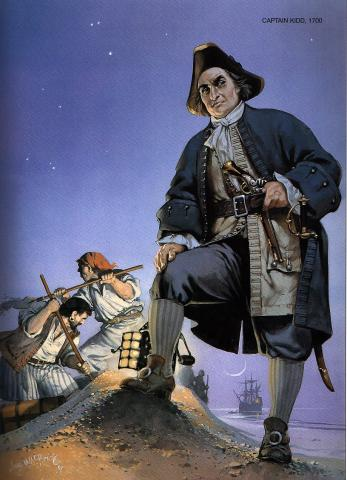 Captain Kidd - Pirate (Illustration) Biographies Famous People Legends and Legendary People Social Studies Visual Arts World History