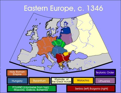 Map of Eastern Europe circa 1346 Social Studies Geography World History