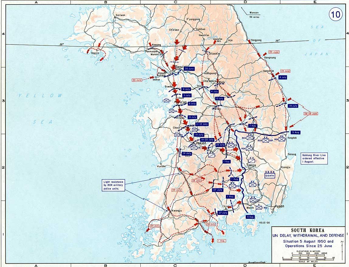 South Korea Map Of Early Hostilities - Korean map