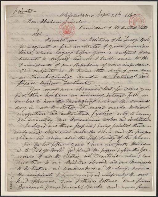 Letter from Sarah Hale to President Lincoln Requesting Thanksgiving Proclamation