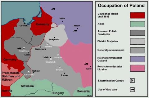 Occupation of Poland - Map Geography Social Studies World History World War II