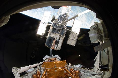 Lifting Hubble from Cargo Bay Astronomy American History Social Studies Aviation & Space Exploration STEM