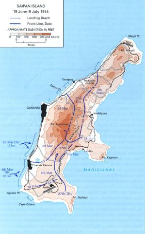 Saipan Island - Map Locating Marine and Army Personnel American History Geography World War II World History