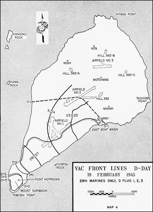 Map of Airfield Number 2 at Iwo Jima Iwo Jima Map on