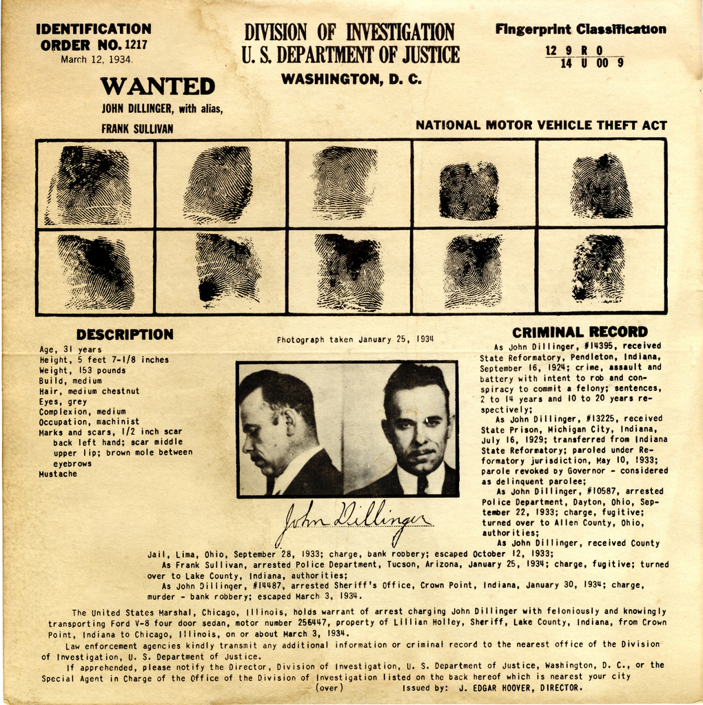 Dillinger Wanted Poster Marked Cancelled – Real Wanted Poster