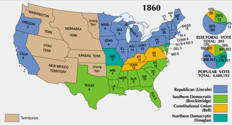 1860 Presidential Election - Popular, Electoral Votes Government American History Civil Rights Geography