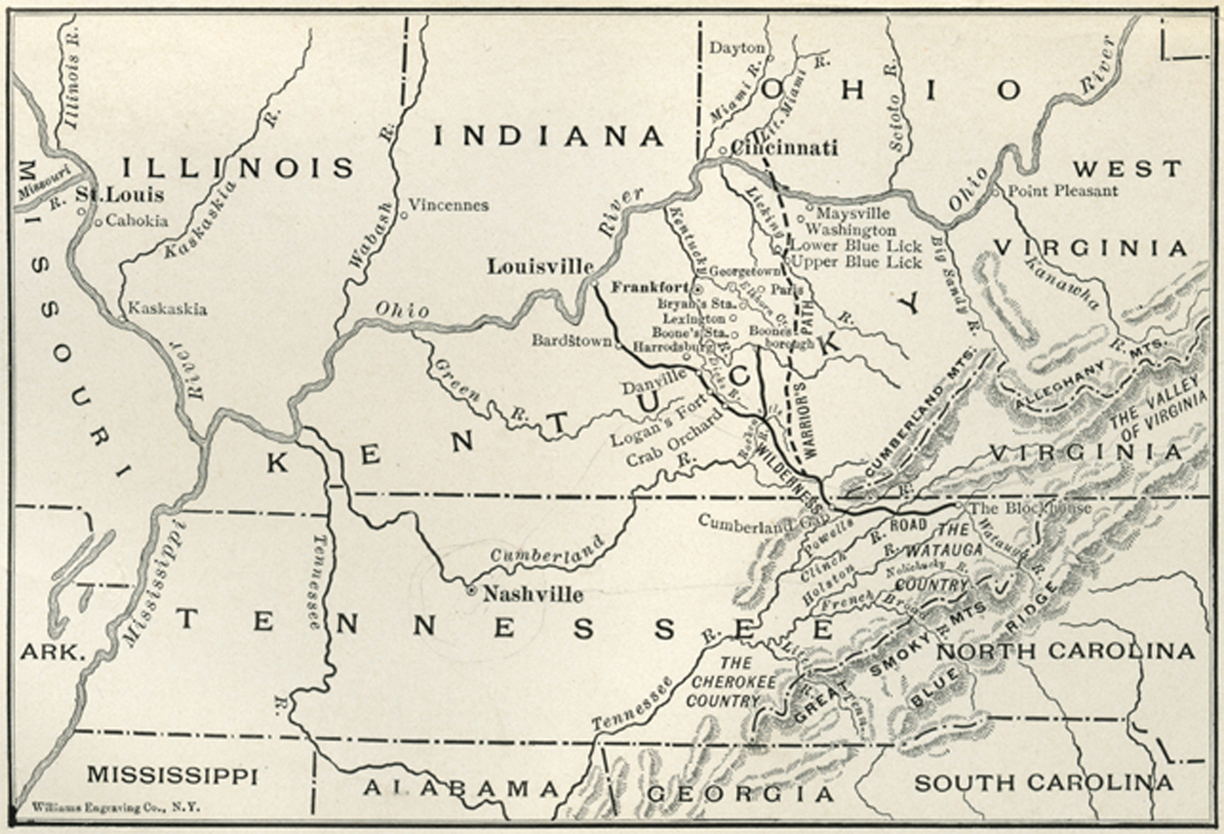 This map depicts the quot wilderness road quot and the quot cumberland gap quot which