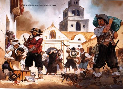 English Troops Capture Jamaica - 1655 Visual Arts Legends and Legendary People Social Studies World History