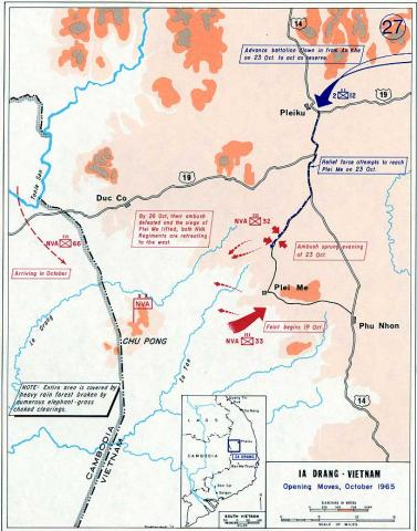 Map Depicting Ia Drang Operations - Opening Moves American History Famous Historical Events Geography