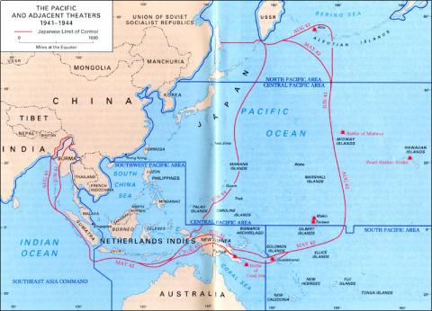 The Pacific Theater - Map American History Geography Social Studies World War II