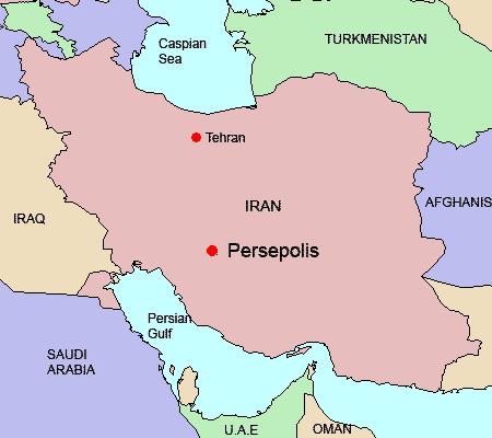 map of iran location of persepolis