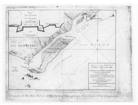 Battle of Sullivan's Island, 1776 - Map and Story (Illustration) American History American Revolution Famous Historical Events Geography Tragedies and Triumphs Visual Arts