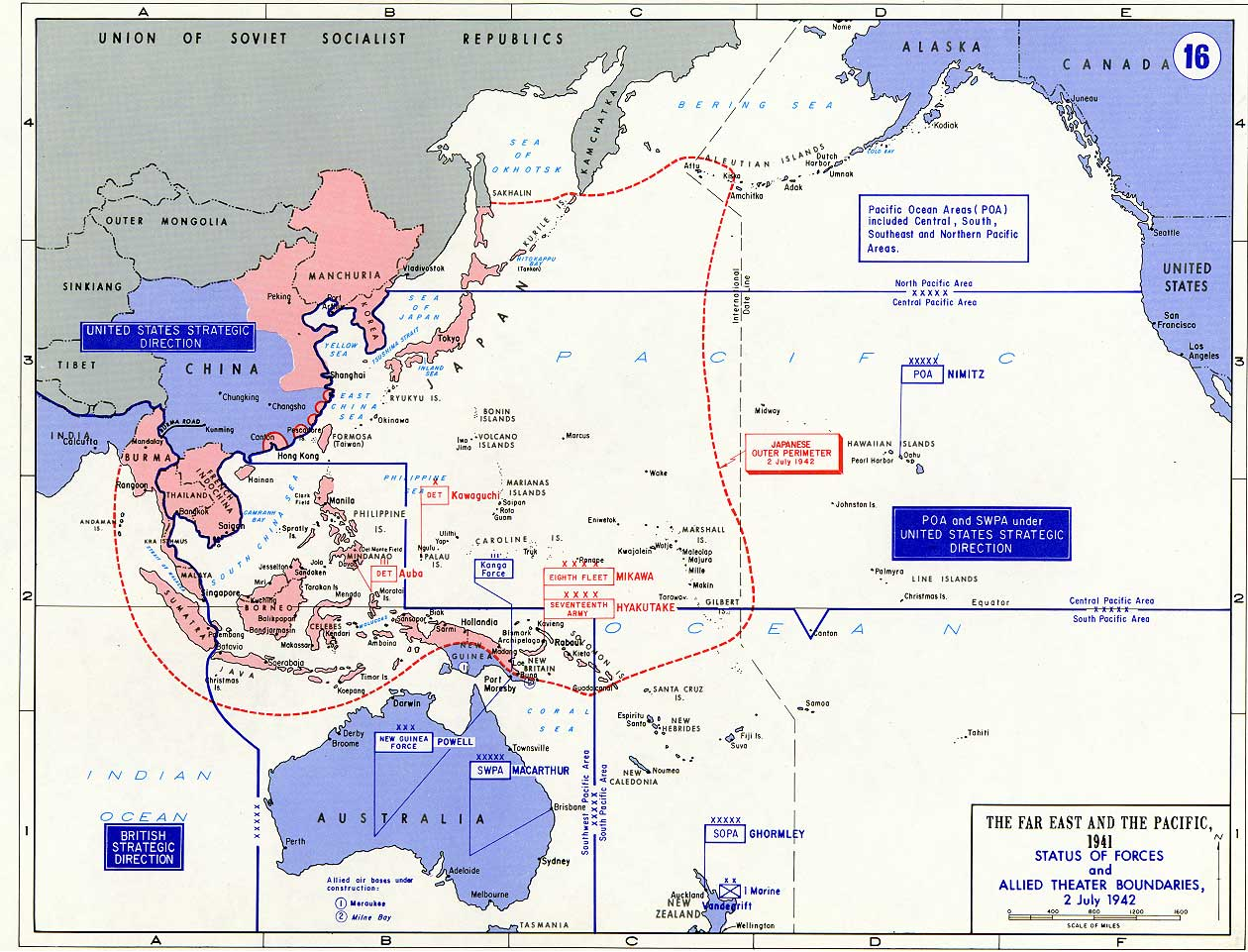 Allied Forces  Pacific Theater July 1942 Boundaries