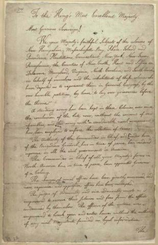 Petition of First Continental Congress to King George III