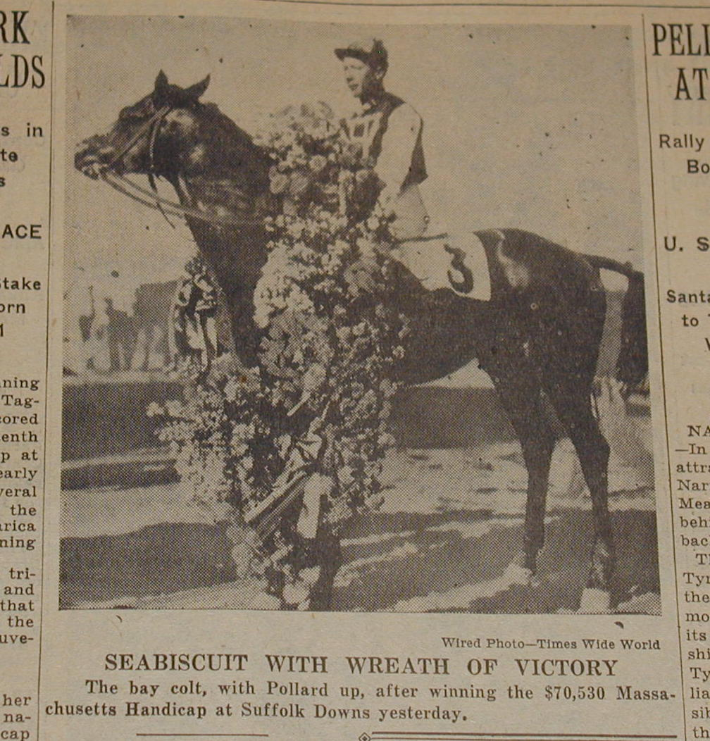 Seabiscuit in the winner's circle at Suffolk Downs in East Boston
