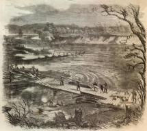 Union Soldiers Bridging the Osage