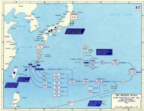 Battle for Iwo Jima - Map American History Famous Historical Events Tragedies and Triumphs World War II Geography