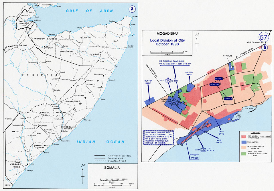 Battle Map Of Mogadishu US Military Academy - Us military map