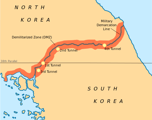 Korean war korea divided at the end of world war ii the korean peninsula was divided in half at the 38th parallel this map by rishabh tatiraju depicts that division gumiabroncs Image collections