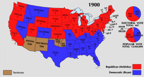 Graph - 1900 Red and Blue State Election Results Disasters American History American Presidents Awesome Radio - Narrated Stories Famous Historical Events Famous People History