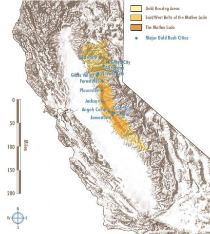 Map Of California During Gold Rush.California Gold Areas And Gold Rush Cities