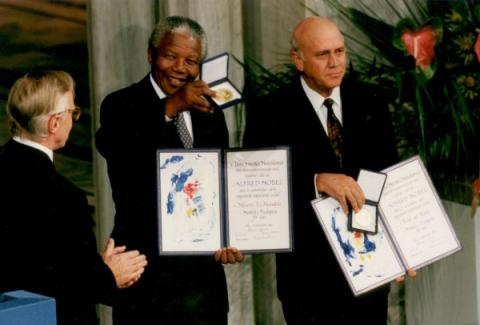 Mandela and de Klerk Share Nobel Peace Prize Ethics Visual Arts Biographies Famous Historical Events Famous People Tragedies and Triumphs World History
