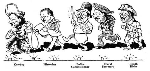 Theodore Roosevelt and His Various Careers Cartoon