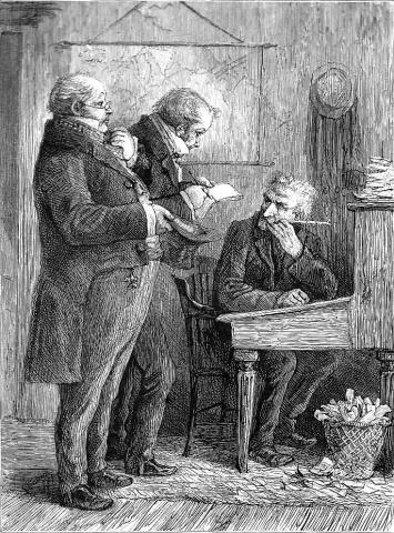 Scrooge at His Desk Fiction Victorian Age Visual Arts