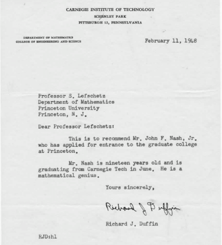 John Nash Letter of Recommendation Biographies Famous People STEM Film