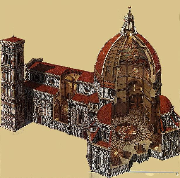 Florence Dome: Cross-Section Of Cathedral Dome
