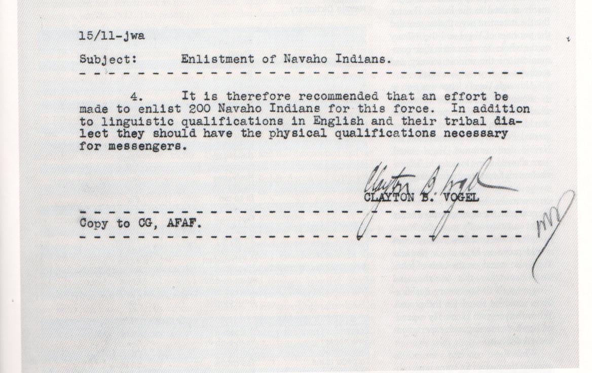 from Headquarters Authorizing Use of Navajo munication