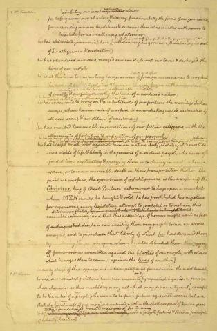 Declaration of Independence, 3rd Page of Manuscript