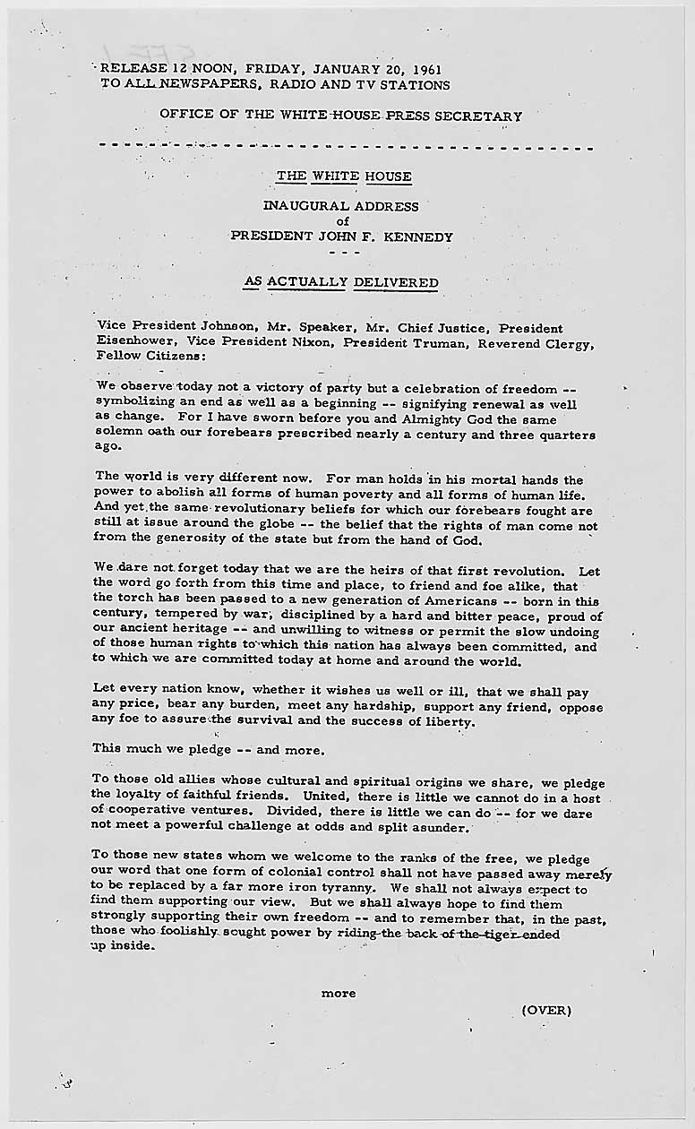 john f kennedy inaugural address rhetorical essay