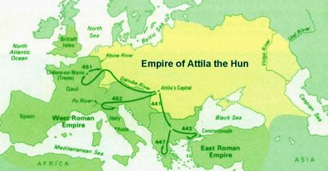 Map of the Hunnic Empire under Attila World History Ancient Places and/or Civilizations Geography