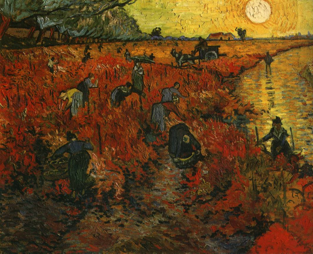 Van gogh painting the red vineyard for Mural van gogh
