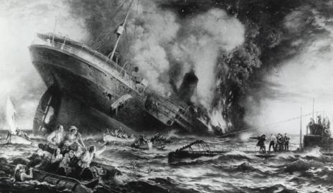 DEATH OF A SHIP (Illustration) American History Famous Historical Events World History Disasters World War I