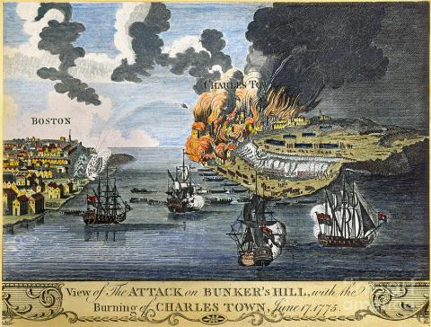 THE BATTLE OF BUNKER HILL (Illustration) American History Geography Social Studies Revolutionary Wars Biographies Famous Historical Events American Revolution