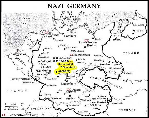Map Depicting Location Of Buchenwald - Us concentration camps ww2 map