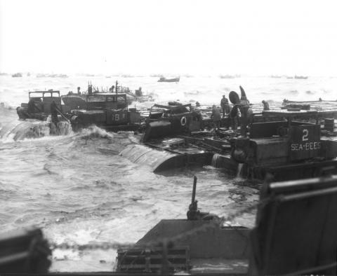 Off-Loading Heavy Equipment at the Beach Landing Sites Famous Historical Events World War II Visual Arts