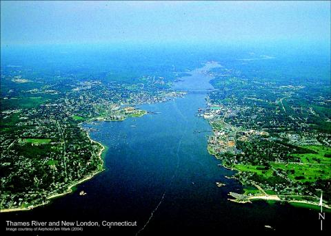 Thames River in New London, Connecticut - Aerial View Biographies Geography Social Studies Aviation & Space Exploration Tragedies and Triumphs Philosophy