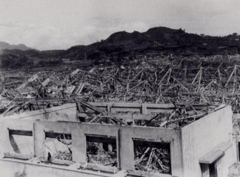 Photo image of the targeted torpedo-production site in Nagasaki, Japan
