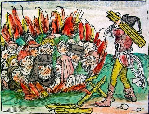 Accused of Spreading Plague - Jews Burned in a Pit (Illustration) Ethics Famous Historical Events Crimes and Criminals Disasters Medieval Times Social Studies Visual Arts