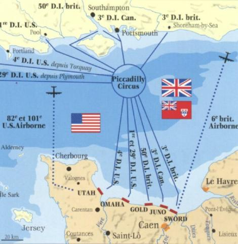 Normandy Invasion - Convoy Routes to the Beaches Famous Historical Events Visual Arts World War II Geography