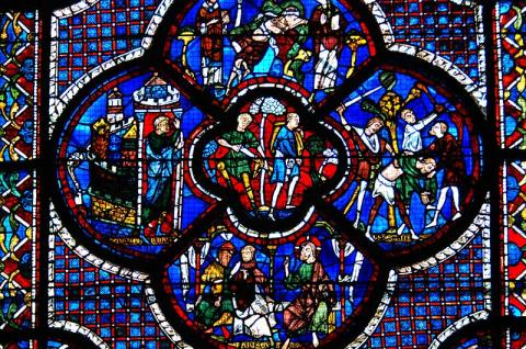 Good Samaritan Window - at Chartres Cathedral Medieval Times Philosophy Visual Arts