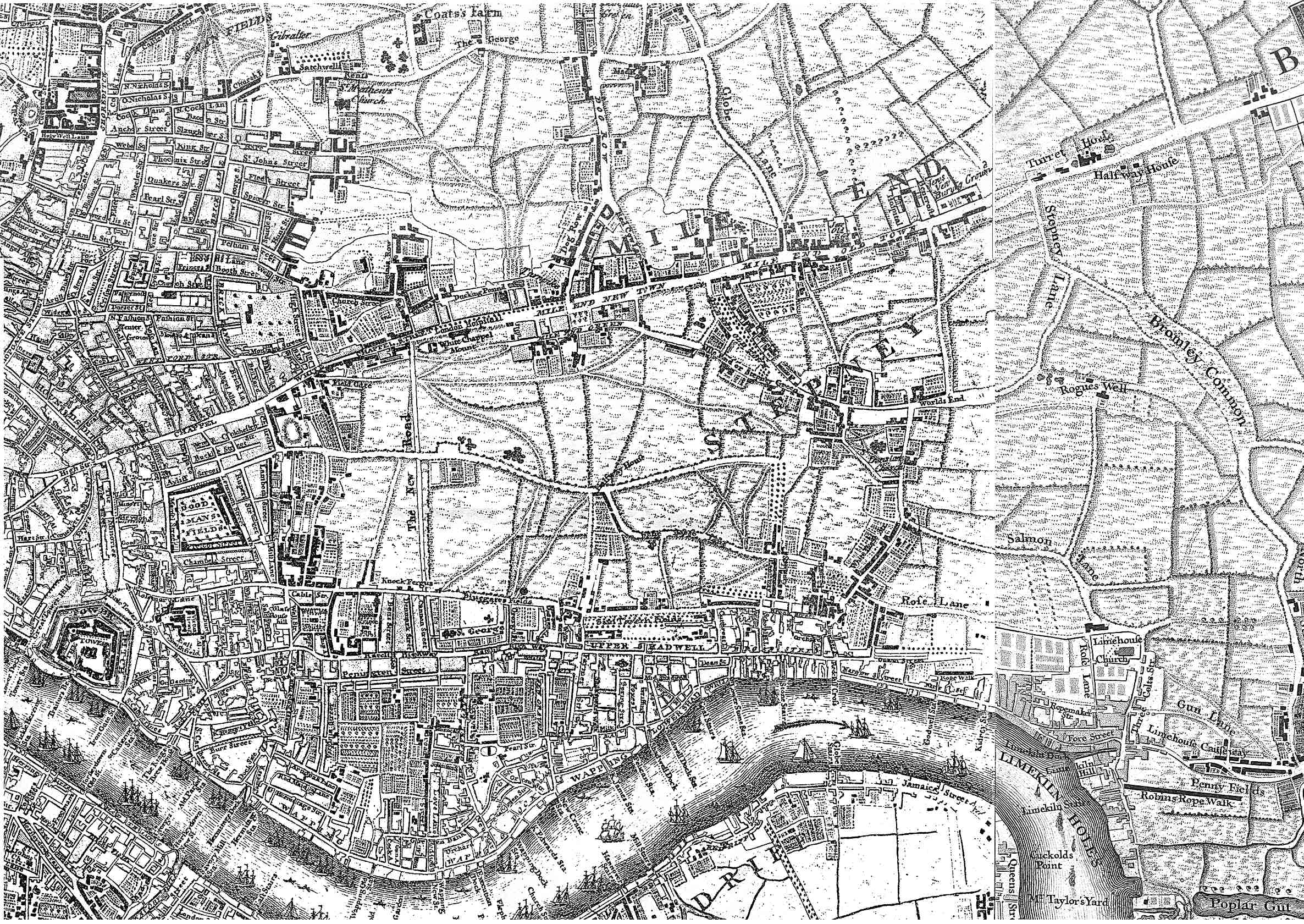 London East Map.London East End Historic Map 1745