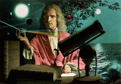 Isaac Newton and the Falling Apple (Illustration) Biographies Aviation & Space Exploration STEM Legends and Legendary People Astronomy
